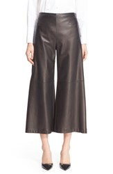 Adam By Adam Lippes Women's Plonge Leather Crop Wide Leg Pants
