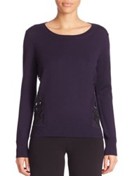 Diane Von Furstenberg Anaya Lace Back Sweater Royal Navy