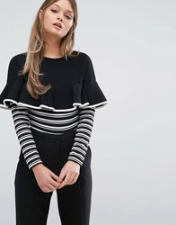 Fashion Union Frill And Stripe Long Sleeve Body Black And White