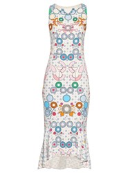 Peter Pilotto Kia Geometric Print Sleeveless Midi Dress White Multi