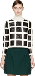Dsquared Black And White Lambskin Windowpane Jacket