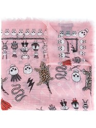 Alexander Mcqueen Leopard And Skull Print Scarf Pink And Purple