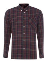 Merc Long Sleeve Tartan Check Shirt Navy