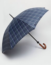 Fulton Walking Umbrella In Blue Check Blue