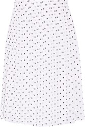 Theory Lewdill Pleated Polka Dot Silk Georgette Skirt White