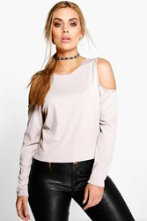 Boohoo Leanne Open Shoulder Knitted Top Grey