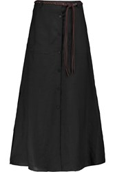 Theory Tylary Belted Ramie Maxi Skirt Black