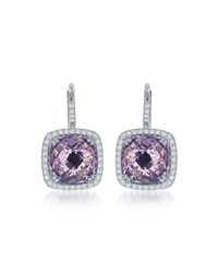 Diana M. Jewels 14K White Gold Cushion Cut Amethyst And Pave Diamond Drop Earrings Women's