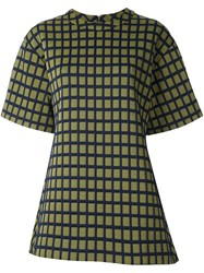 Marni Grid Print Fluted Top Yellow And Orange