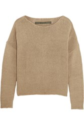 Enza Costa Cotton And Cashmere Blend Sweater Nude
