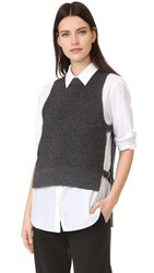 Dkny Pure Sleeveless Sweater With Side Tabs Charcoal Heather