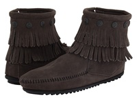 Minnetonka Double Fringe Side Zip Boot Grey Suede Women's Zip Boots Gray