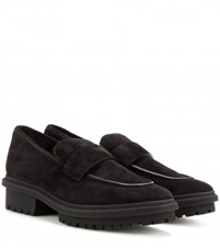 Balenciaga Shearling Lined Suede Loafers Black