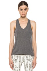 T By Alexander Wang Classic Viscose Tank With Pocket In Gray