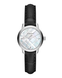 Burberry 32Mm Diamond Dial Watch With Alligator Strap Silver