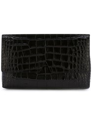 Vince Crocodile Skin Effect Clutch Black