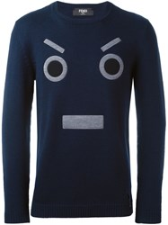 Fendi Face Embroidered Sweater Blue