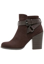 Anna Field High Heeled Ankle Boots Mocca Dark Brown