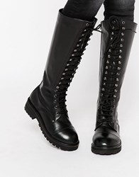 Park Lane Lace Up Chunky Leather Knee Boots Black