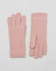Aldo Cable Knit Gloves With Chenille Lining Blush Pink