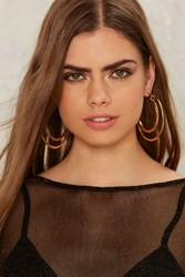 Run The Loop Layered Hoop Earrings Gold