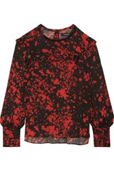 Isabel Marant Ikara Ruffled Printed Stretch Silk Crepe Blouse Red