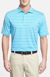 Peter Millar 'Dash Stripe' Moisture Wicking Stretch Jersey Polo Electric Blue