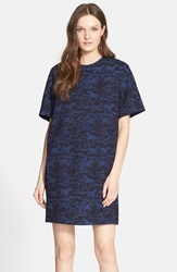 See By Chloe Horse Pattern Woven Shift Dress Indigo