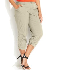 Inc International Concepts Plus Size Ruched Cargo Pants Toad Beige