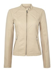 Andrew Marc New York Pu Jacket With Front Zip Detail Beige
