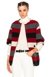 Etoile Isabel Marant Fimo Blanket Coat In Red Stripes Red Stripes