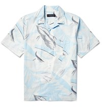 Rag And Bone Kingston Camp Collar Printed Cotton Shirt Blue