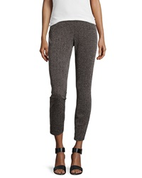 Max Studio Textured Cropped Leggings Black Charcoal