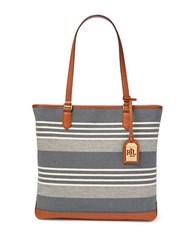 Lauren Ralph Lauren Dansie Striped Cotton Canvas Tote Navy