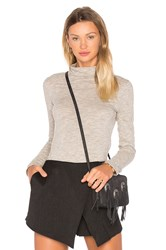 Bobi Mini Striped Jersey Long Sleeve Turtleneck Top Tan