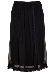 Ghost Tammy Georgette And Lace Skirt Black