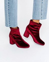 Truffle Collection Round Heel Ankle Boot Wine Velvet Red