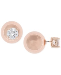 Anne Klein Rose Gold Tone Crystal And Ball Front Back Earrings
