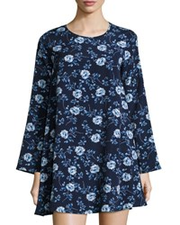 Lucca Couture Long Sleeve Floral Print Shift Dress Blue