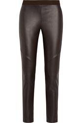 Michael Michael Kors Stretch Faux Leather And Jersey Leggings Brown