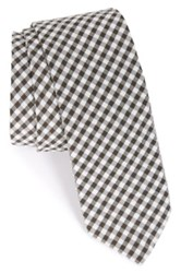 1901 'Dutra' Gingham Seersucker Cotton Tie Black