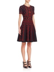 Alexander Mcqueen Flower Pattern Jacquard Intarsia Knit Fit And Flare Dress Black Red Bordeaux