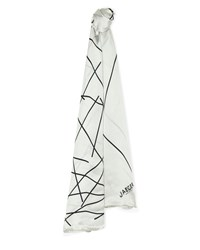 Jaeger Silk Scattered Line Scarf White