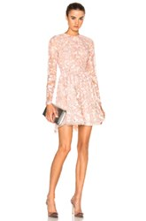 Zuhair Murad Embroidered Long Sleeve Mini Dress In Pink
