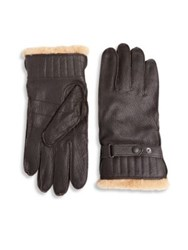 Barbour Textured Leather Gloves Brown