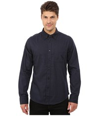 Deus Ex Machina Albie Brushed Long Sleeve Shirt Navy Men's Long Sleeve Button Up