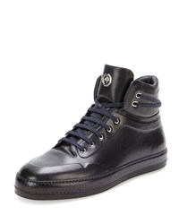 Leather High Top Sneaker Navy Stefano Ricci