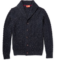 Isaia Shawl Collar Cable Knit Wool Cardigan Blue