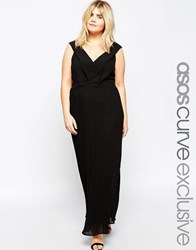Asos Curve Pleated Maxi Dress With Deep V Back Black