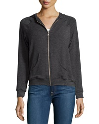 Solow Hooded Zip Front Raglan Sweatshirt Gray